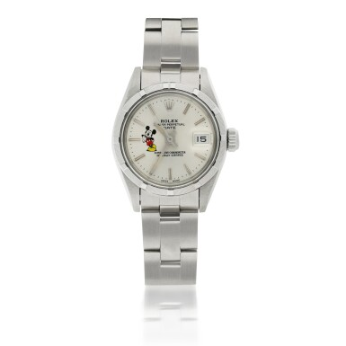 View 1. Thumbnail of Lot 173. ROLEX | REF 69190/69000 DATE 'MICKEY MOUSE', A STAINLESS STEEL AUTOMATIC WRISTWATCH WITH DATE AND BRACELET CIRCA 1984.
