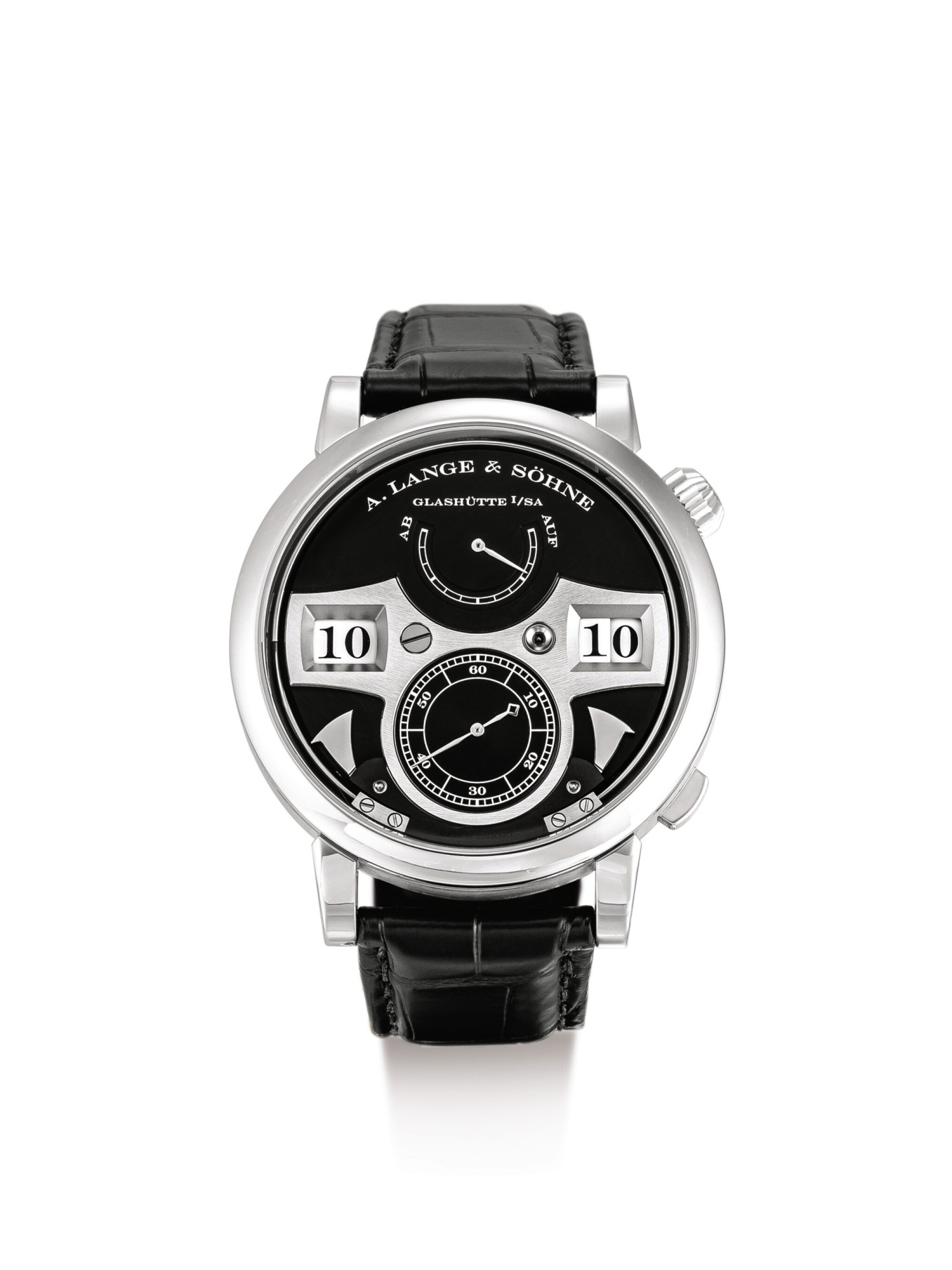 """View 1 of Lot 2074. A. LANGE & SÖHNE   ZEITWERK STRIKING TIME, A WHITE GOLD WRISTWATCH WITH DIGITAL DISPLAY, STRIKING TIME AND POWER RESERVE INDICATION, CIRCA 2010   朗格   """"Zeitwerk Striking Time 白金腕錶,備跳字、打問報時及動力儲備顯示,機芯編號91060,錶殼編號201171,約2010年製""""."""
