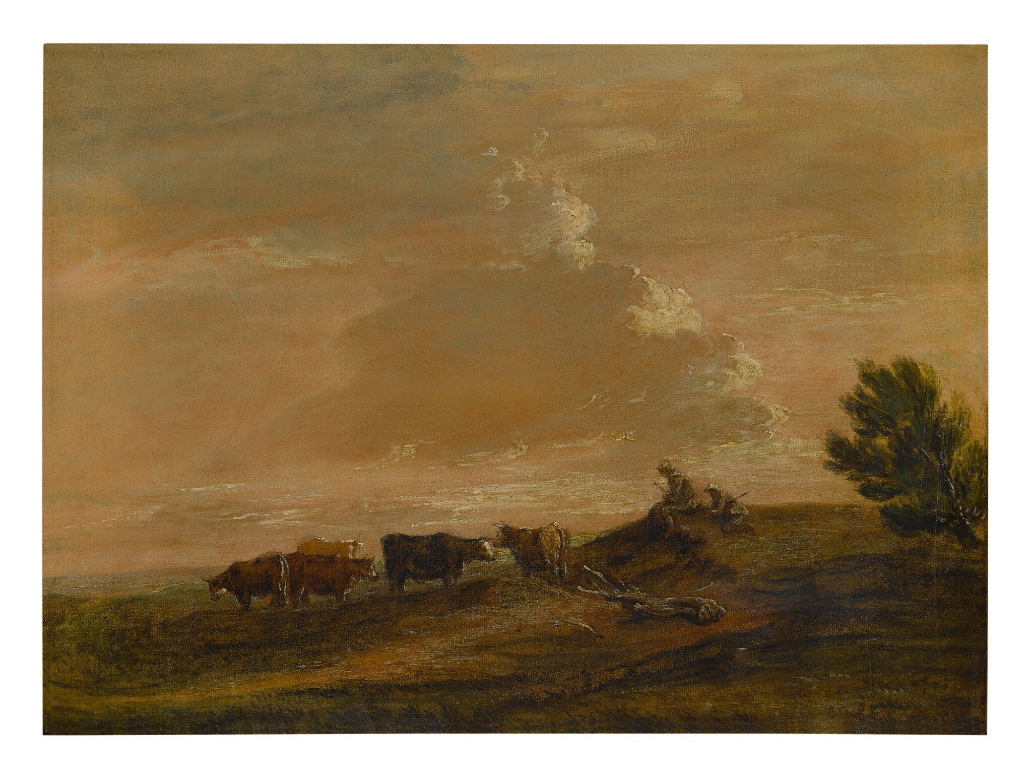 View full screen - View 1 of Lot 632. FOLLOWER OF THOMAS GAINSBOROUGH, R.A. | AN OPEN LANDSCAPE WITH RESTING DROVERS.