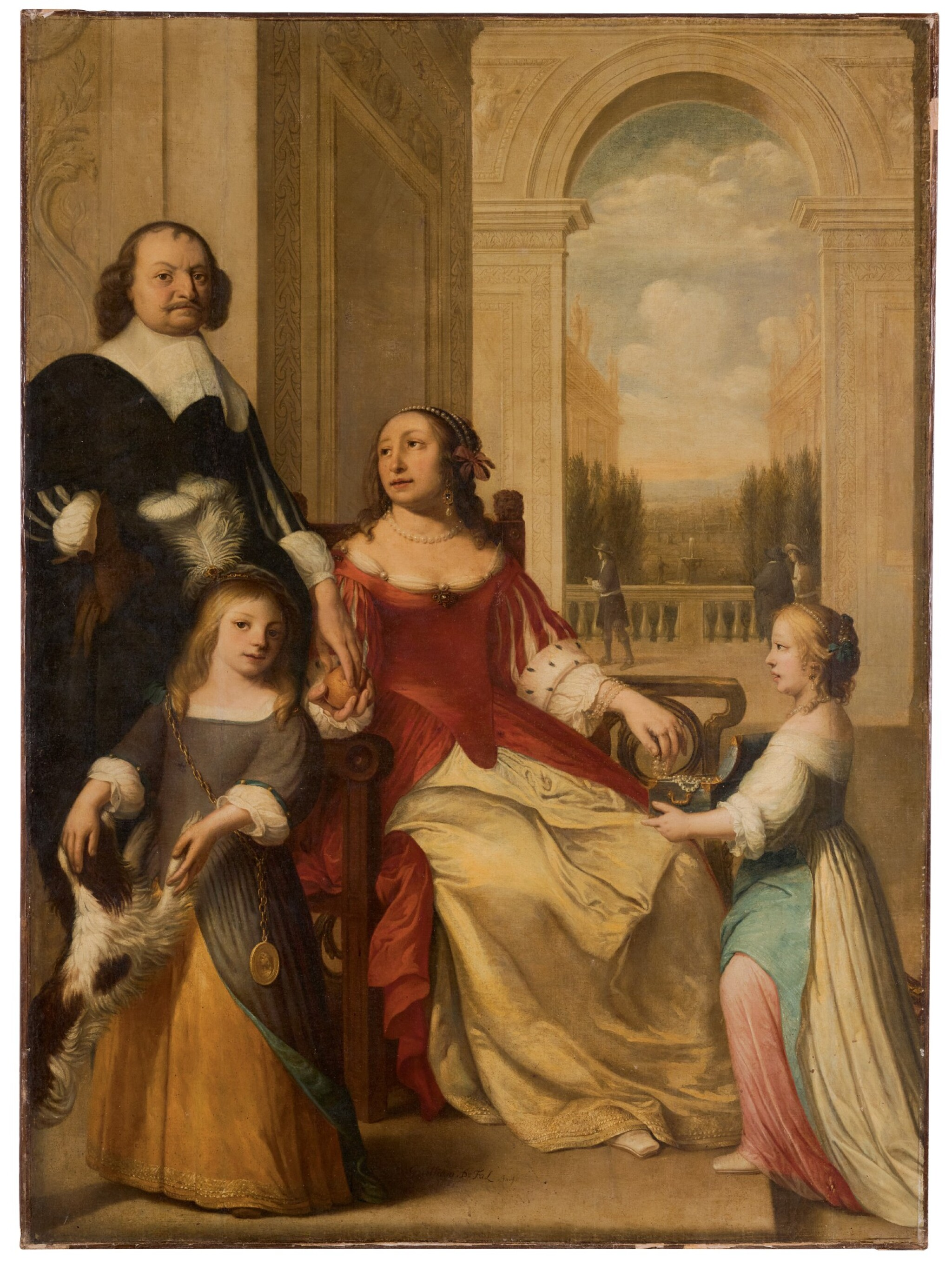 View 1 of Lot 136. A portrait of Louis Henry, Prince of Nassau-Dillenburg (1594-1662) and his family, full-length, in the portico of a palace.