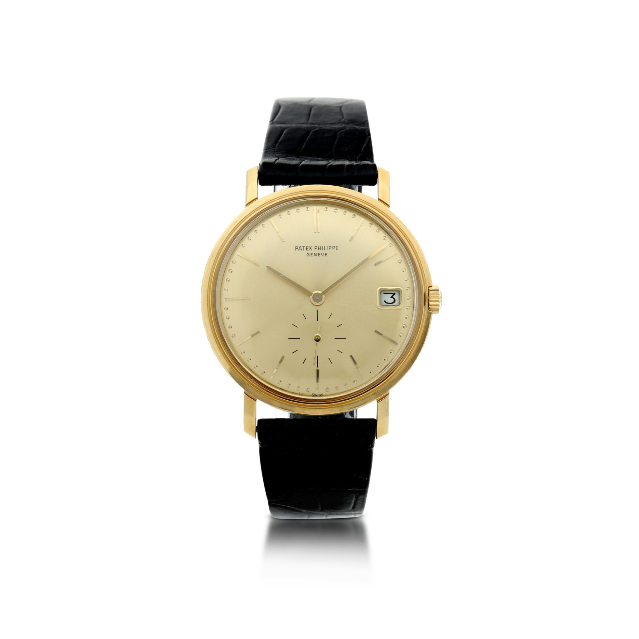View full screen - View 1 of Lot 25. REFERENCE 3445 A YELLOW GOLD AUTOMATIC WRISTWATCH WITH DATE, MADE IN 1972.