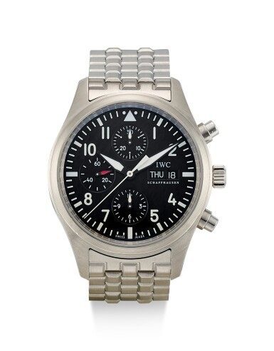 IWC   DER FLIEGERCHRONOGRAPH, REFERENCE 3706, A STAINLESS STEEL CHRONOGRAPH WRISTWATCH WITH DAY, DATE AND BRACELET, CIRCA 2008