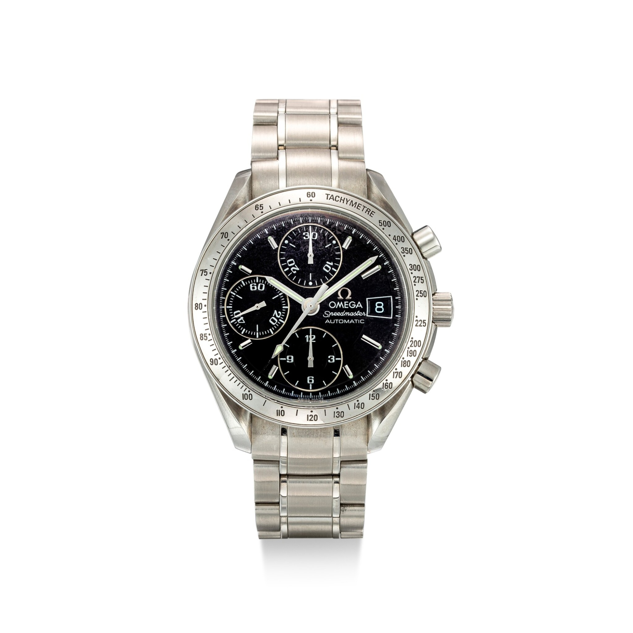 View full screen - View 1 of Lot 608. OMEGA   SPEEDMASTER, REFERENCE 3513.50,  A STAINLESS STEEL CHRONOGRAPH WRISTWATCH WITH DATE AND BRACELET, CIRCA 2008.