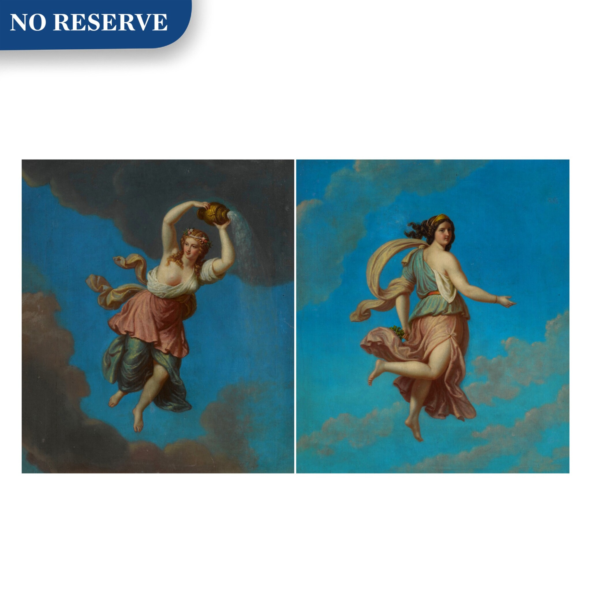 View full screen - View 1 of Lot 97. Pair of allegorical female figures.