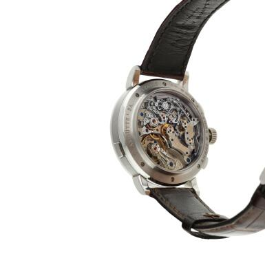 View 6. Thumbnail of Lot 291. Reference 405.035 Datograph Up/Down  A platinum flyback chronograph wristwatch with date, Circa 2012 .
