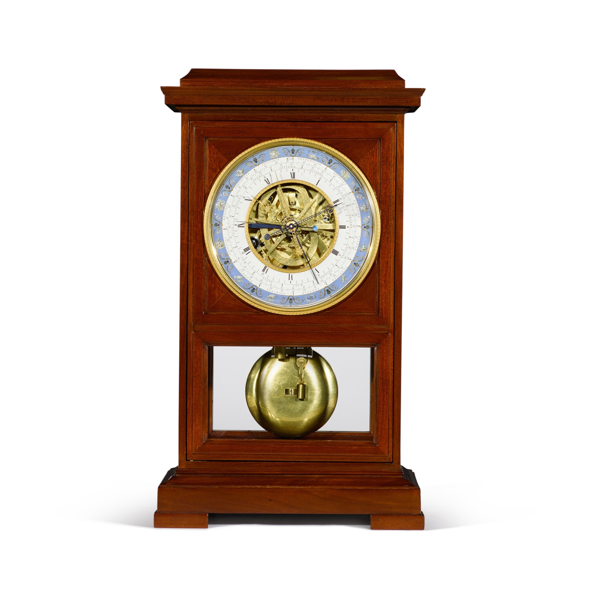 View full screen - View 1 of Lot 60. A Consulate mahogany month-going table regulator with remontoire, equation of time and revolutionary and Gregorian calendars, Jean-Francois Cronier, Paris, dated 1800.