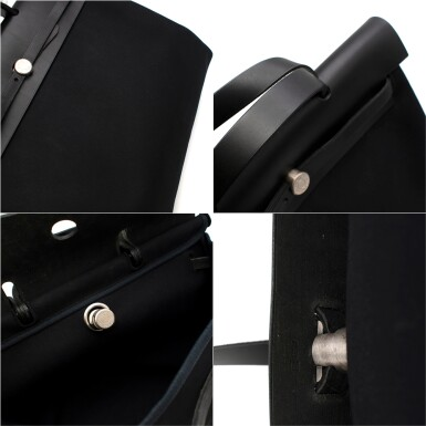 View 7. Thumbnail of Lot 113. HERMÈS | BLACK HERBAG MM 2-IN-1 IN HUNTER COWHIDE WITH PALLADIUM HARDWARE, 1999.