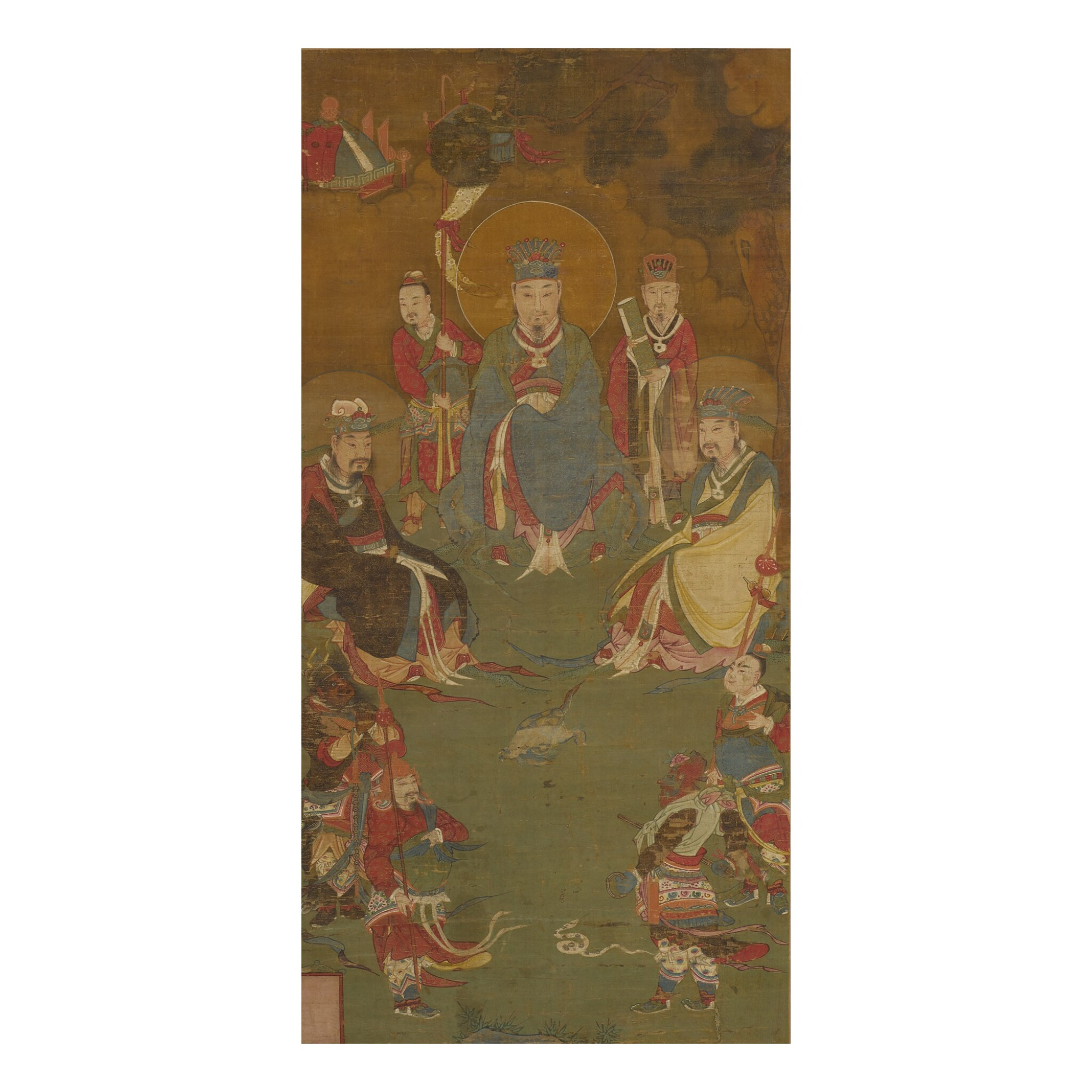 View full screen - View 1 of Lot 173. A painting of Zhenwu and his court, Qing dynasty, 18th century | 明末 真武大帝圖 設色絹本 裝框.