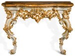 A GEORGE II GREY PAINTED AND PARCEL-GILT CONSOLE TABLE, CIRCA 1755, IN THE MANNER OF PAUL SAUNDERS