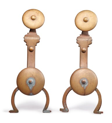 View 2. Thumbnail of Lot 322. Pair of English Brass Andirons, 20th century.