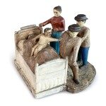 VERY RARE CARVED AND POLYCHROME PAINT-DECORATED WOOD SCULPTURE OF AN EXORCISM SCENE, MID-WESTERN, CIRCA 1910