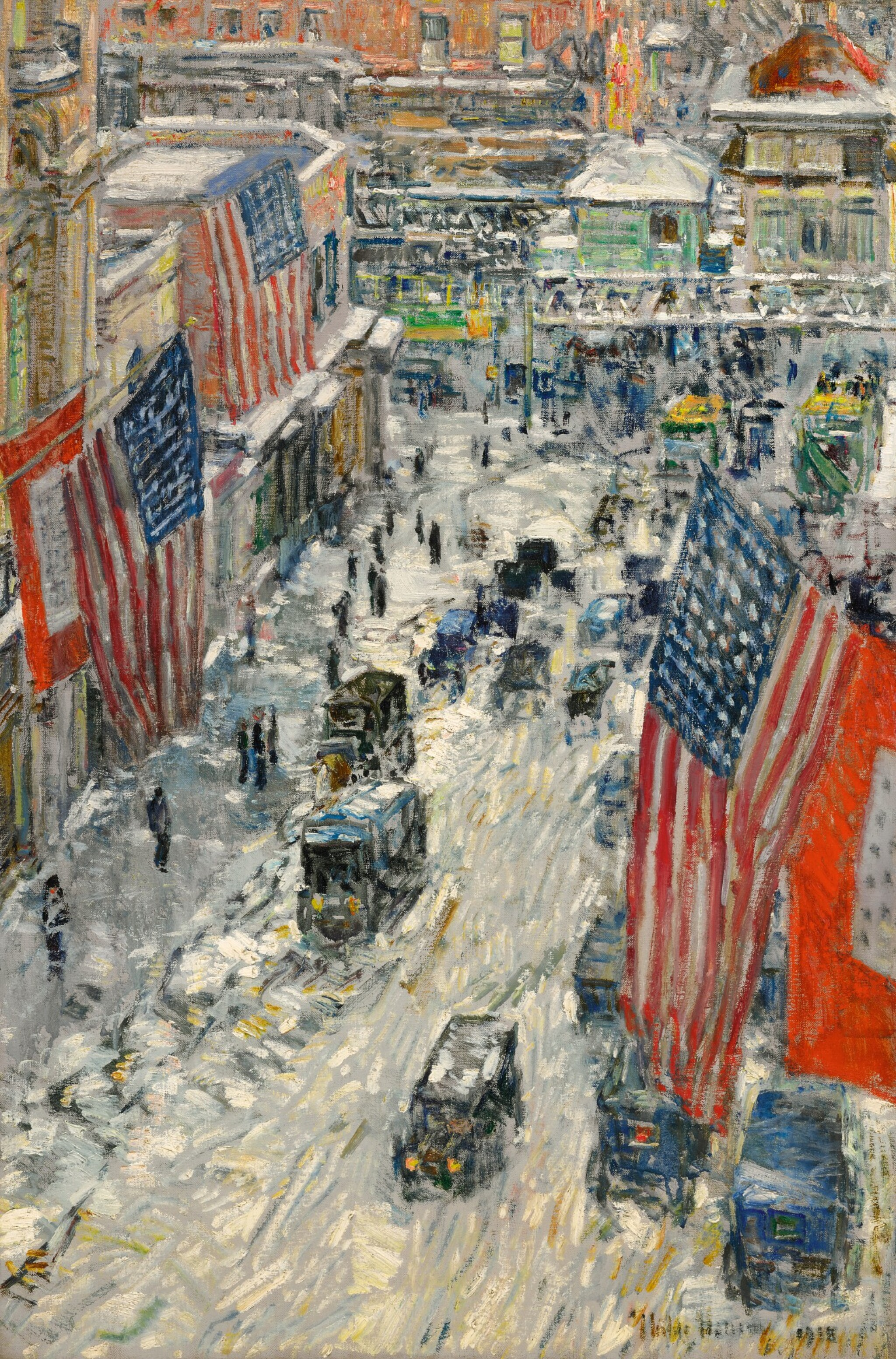 View full screen - View 1 of Lot 1026. Flags on 57th Street, Winter 1918.