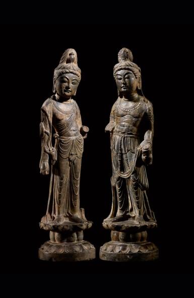 View 1. Thumbnail of Lot 20. An important and magnificent pair of grey limestone figures of Bodhisattvas, Mahasthamaprapta and Avalokiteshvara,  Early Tang dynasty, era of Empress Wu Zetian | 唐初高宗至武周時期 石灰岩雕大勢至與觀世音菩薩立像一對.
