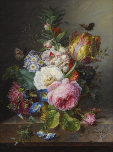 View 1. Thumbnail of Lot 734. Cornelis van Spaendonck   A STILL LIFE OF A PARROT TULIP, ROSES AND OTHER FLOWERS IN A BASKET, ON A MARBLE LEDGE.
