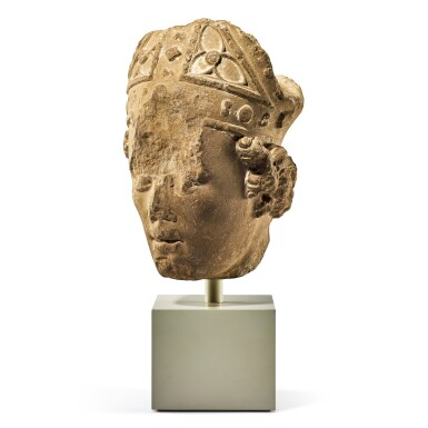 View 2. Thumbnail of Lot 2010. A fragmentary medieval French limestone head of a bishop 14th century   十四世紀 法國石灰岩雕戴冠主教頭像殘件.