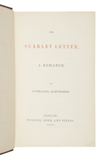 View 2. Thumbnail of Lot 55. HAWTHORNE, NATHANIEL | The Scarlet Letter, A Romance. Boston: Ticknor, Reed, and Fields, 1850.