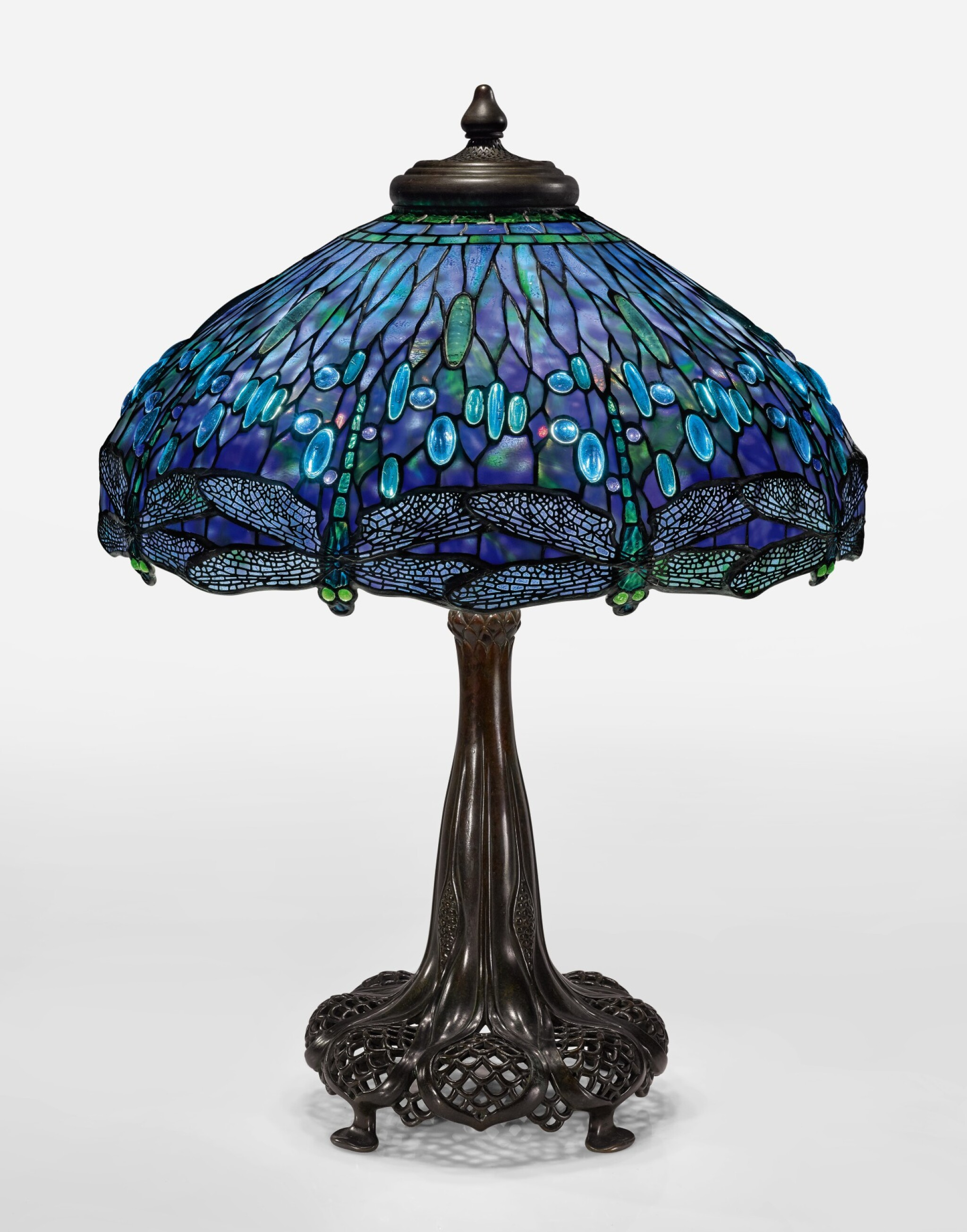 """View full screen - View 1 of Lot 411.  TIFFANY STUDIOS   AN IMPORTANT """"DRAGONFLY"""" TABLE LAMP."""