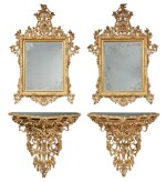 A PAIR OF VENETIAN ROCOCO STYLE GILTWOOD MIRRORS AND CONSOLES, SECOND HALF 19TH CENTURY