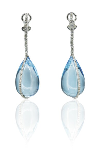 Pair of blue topaz and diamond pendent earrings, Michele della Valle