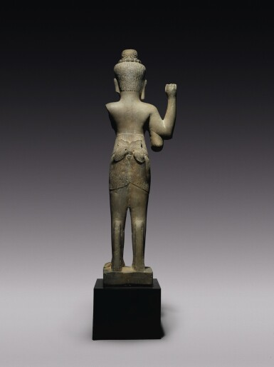 View 3. Thumbnail of Lot 344. A GREY SANDSTONE FIGURE OF SHIVA,  KHMER, BAPHUON STYLE, CIRCA 11TH CENTURY.