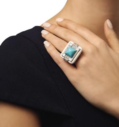 View 3. Thumbnail of Lot 4. DAVID WEBB   ENAMEL, TURQUOISE AND DIAMOND RING.