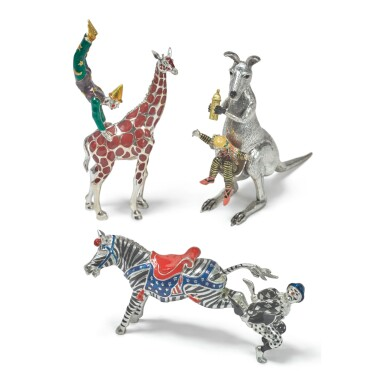 ANIMALS AND CLOWNS: A GROUP OF SILVER AND ENAMEL CIRCUS FIGURES, DESIGNED BY GENE MOORE FOR TIFFANY & CO., NEW YORK, CIRCA 1990