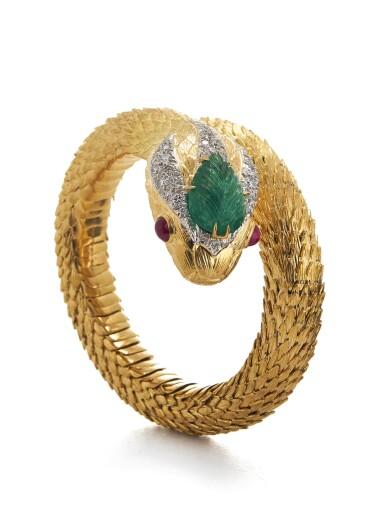 View 1. Thumbnail of Lot 20. DAVID WEBB | GOLD, EMERALD, RUBY AND DIAMOND 'SNAKE CHARMER' BRACELET.