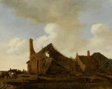 EMANUEL MURANT | River landscape with a ruined cottage and a horse-drawn carriage on a path