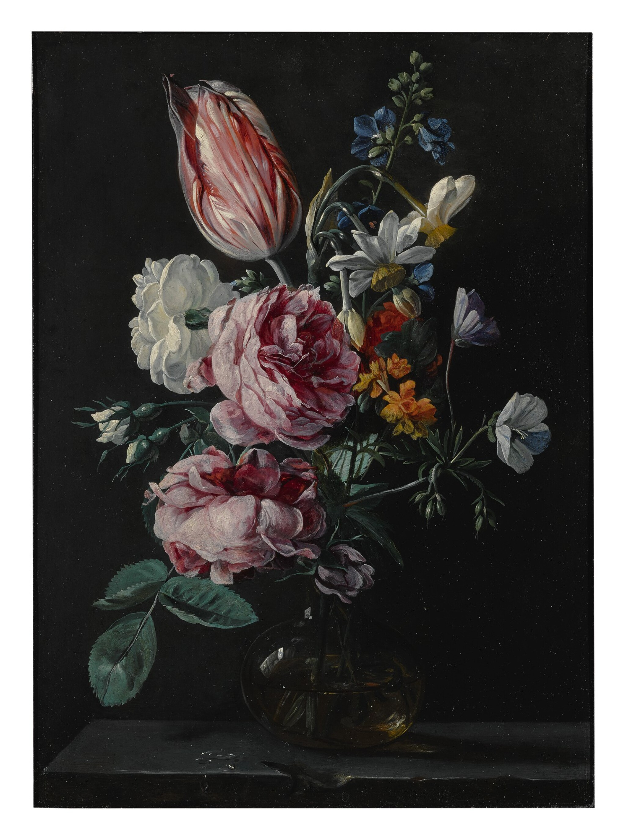 View full screen - View 1 of Lot 144. ANTWERP SCHOOL, CIRCA 1650'S | A BOUQUET OF NARCISSUS, PARROT TULIP, ROSES AND OTHER FLOWERS IN A GLASS VASE ON A STONE PLINTH.