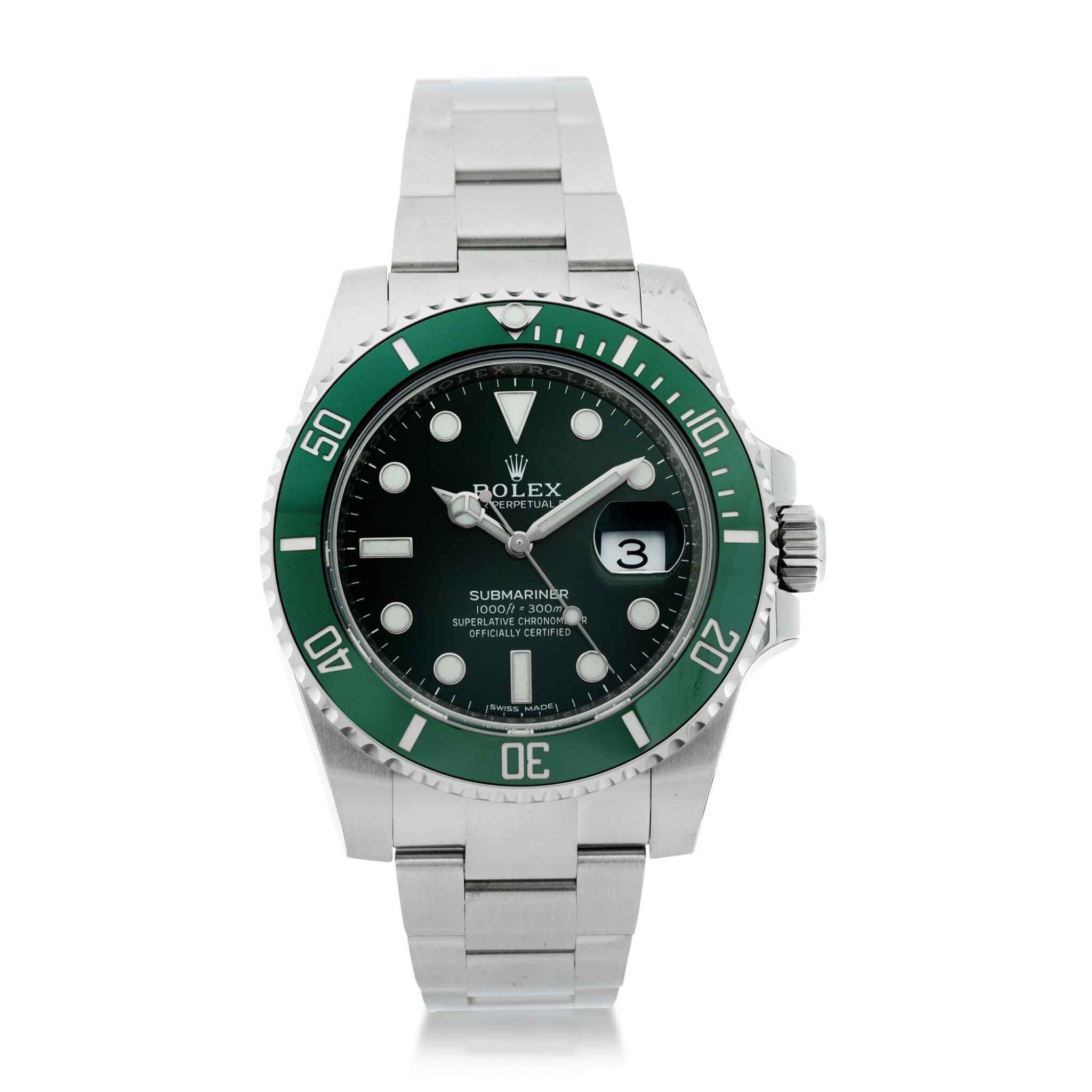 View full screen - View 1 of Lot 7. REFERENCE 116610LV SUBMARINER 'HULK' A STAINLESS STEEL AUTOMATIC WRISTWATCH WITH DATE AND BRACELET, CIRCA 2020.