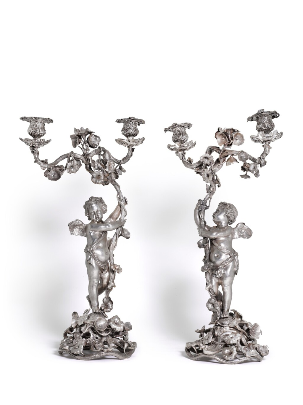 A PAIR OF ROCOCO SILVER TWO-LIGHT CANDELABRA, JEAN-BAPTISTE VAILLANT, ST PETERSBURG, 1845