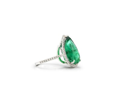 View 2. Thumbnail of Lot 15. EMERALD AND DIAMOND RING.