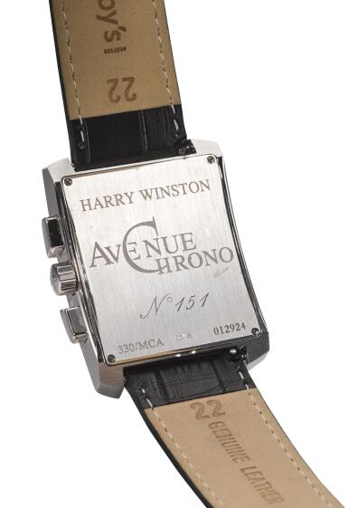 View 3. Thumbnail of Lot 8004. HARRY WINSTON   AVENUE CHRONO, REFERENCE 330/MCA,  A WHITE GOLD CHRONOGRAPH WRISTWATCH WITH MOTHER-OF-PEARL DIAL, CIRCA 2010.