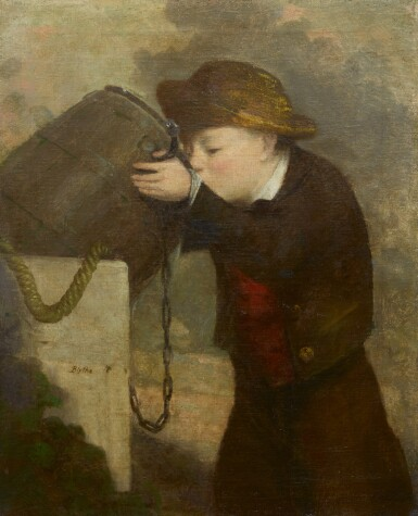 View 1. Thumbnail of Lot 41. DAVID GILMOUR BLYTHE | BOY DRINKING FROM A BARREL.