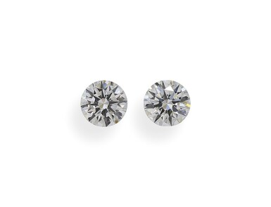 A Pair of 0.54 and 0.53 Carat Round Diamonds, H Color, VS2 Clarity
