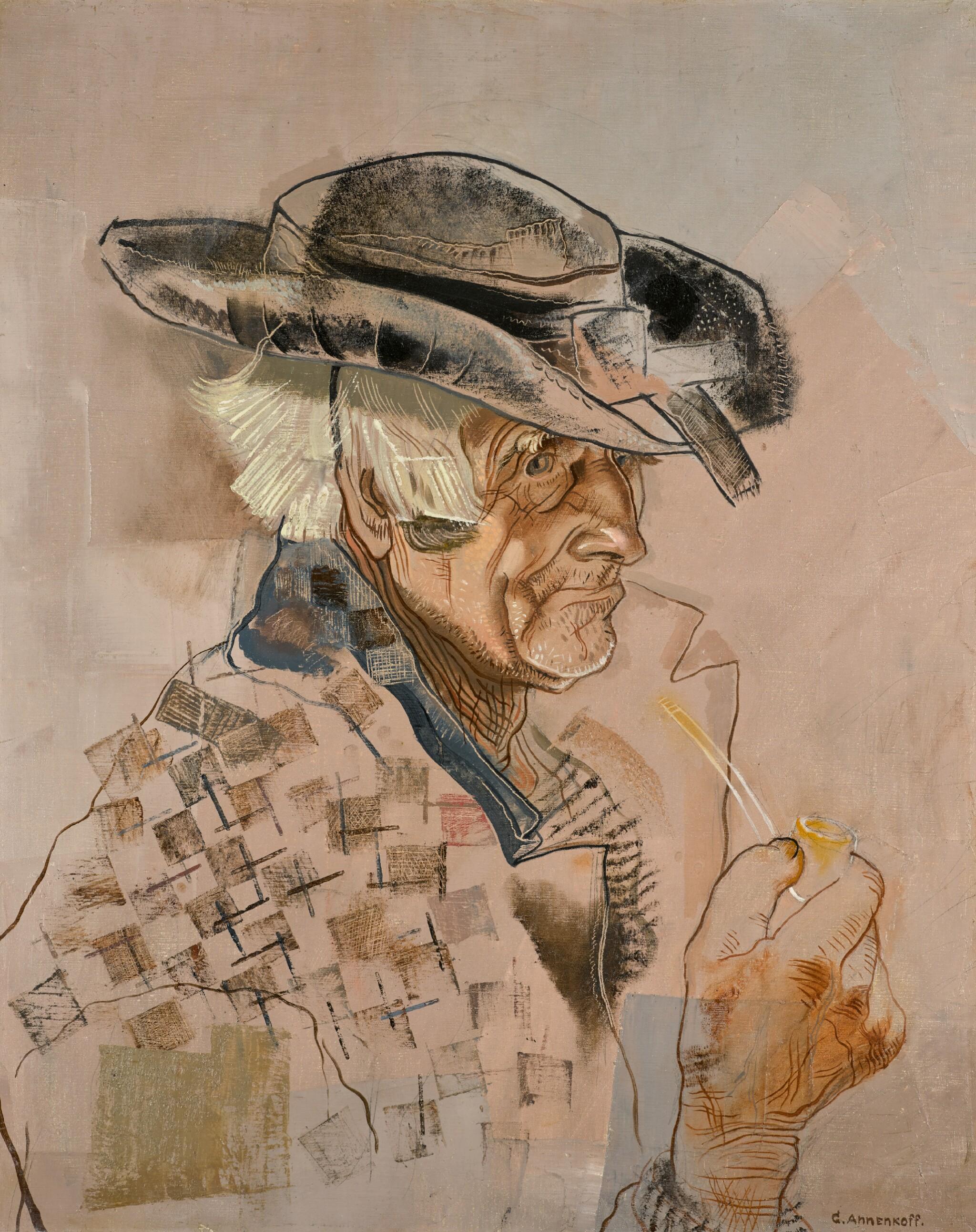 View full screen - View 1 of Lot 80. YURI PAVLOVICH ANNENKOV | Breton Man with Pipe .