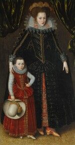 ATTRIBUTED TO ROBERT PEAKE | Portrait of Elizabeth Coningsby, wife of Sir Thomas Wyndham of Kentsford (d. 1635), and her eldest son Sir Edmund Wyndham (c. 1601–1683), both full-length