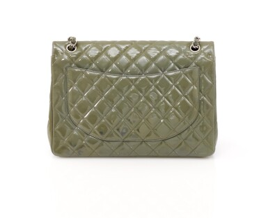 View 2. Thumbnail of Lot 43. Green/grey patent leather with silver-tone metal classic shoulder bag.