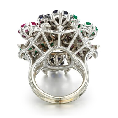 View 3. Thumbnail of Lot 48. Nardi, attributed to | Gem-set and diamond ring, 1960s.