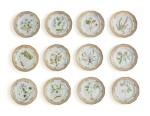 TWELVE ROYAL COPENHAGEN 'FLORA DANICA' RETICULATED DESSERT PLATES, MODERN