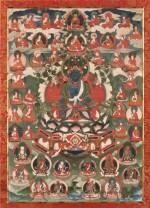 TANGKA REPRÉSENTANT  BOUDDHA AKSHOBHYA TIBET, XIXE SIÈCLE | 西藏 十九世紀 阿閦佛唐卡 設色布本 鏡框 | Thangka depicting Buddha Akshobhya, distemper on cloth, Tibet, 19th century