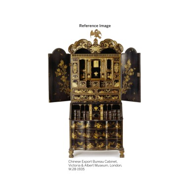 View 4. Thumbnail of Lot 555. A CHINESE EXPORT BLACK AND GOLD LACQUER BUREAU CABINET, CIRCA 1730.