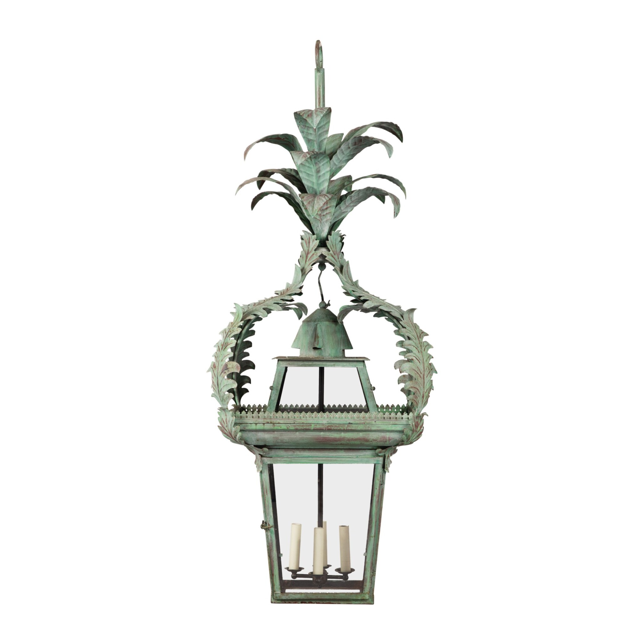A LARGE GREEN-PAINTED TOLE AND GLASS HALL LANTERN, 20TH CENTURY