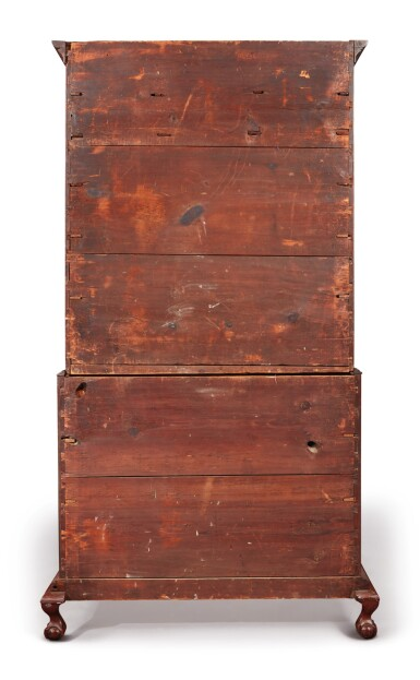 View 6. Thumbnail of Lot 65. Fine and Rare Chippendale Carved Cherrywood Chest-on-Chest, Signed by Bates How (b. 1776), Northwestern Connecticut, circa 1780.