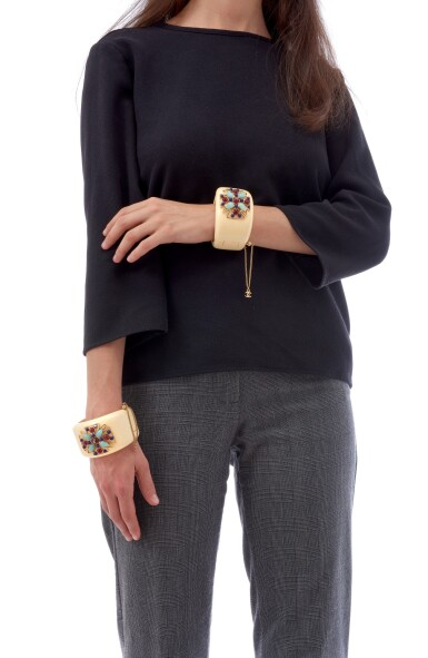 View 4. Thumbnail of Lot 133. PAIR OF CUFFS , CHANEL.