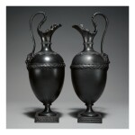 TWO WEDGWOOD AND BENTLEY BLACK BASALT EWERS CIRCA 1775