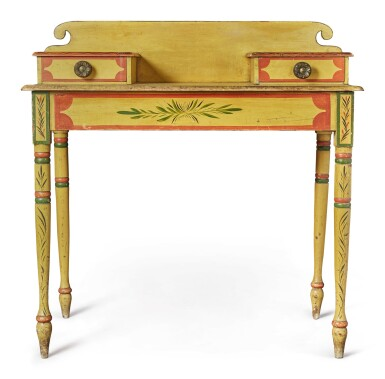 View 2. Thumbnail of Lot 318. Fine Classical Polychrome Paint-Decorated Pine Dressing Table, Maine, circa 1825-1840.