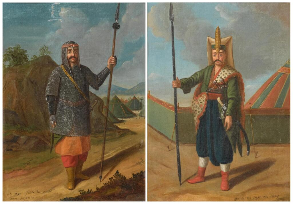 FOLLOWER OF JEAN BAPTISTE VAN MOUR  |  Portrait of a janissary, standing before an encampment; and Portrait of a Turkish guard before an encampment