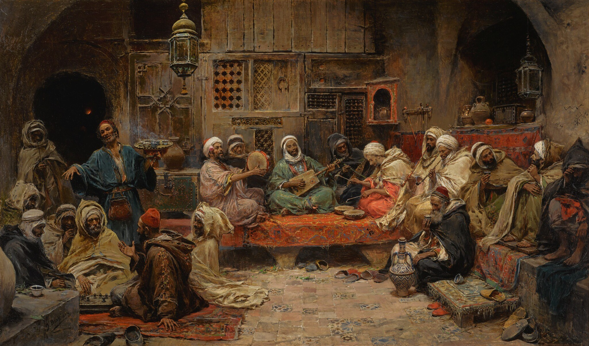 View 1 of Lot 23. JOSÉ BENLLIURE Y GIL | INSIDE A COFFEE HOUSE, TUNIS.