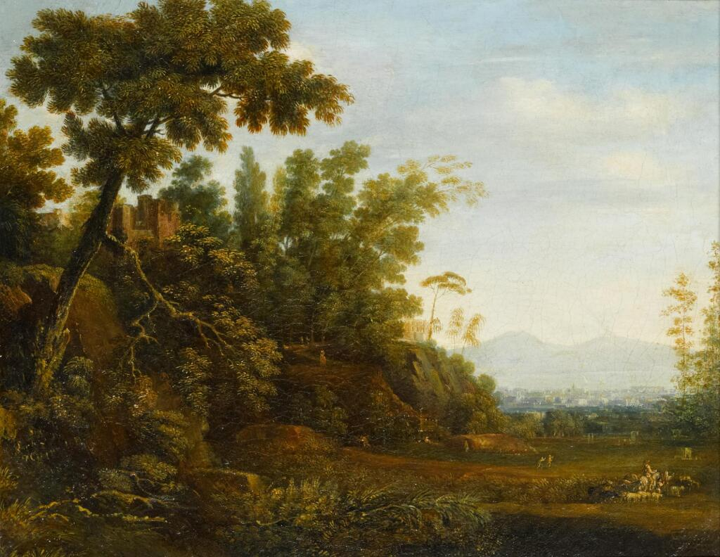 SIMON-MATHURIN LANTARA | A landscape with a farmer and his herd and ruins on a hill, with a distant view of Naples and Mount Vesuvius beyond